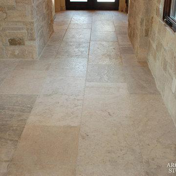 Stone Floor – Antique, Reclaimed Limestone 'barre blonde' pavers