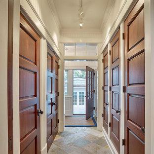 Design ideas for a mid-sized beach style hallway in Philadelphia with slate floors and multi-coloured floor.
