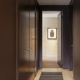 サンフランシスコの大きいコンテンポラリースタイルのおしゃれな廊下 (茶色い壁、ラミネートの床、ベージュの床) の写真