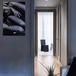 Идея дизайна: коридор среднего размера в стиле модернизм с белыми стенами и светлым паркетным полом