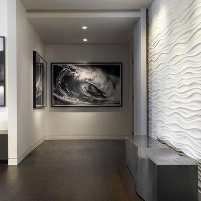 Hallway - contemporary dark wood floor hallway idea in Chicago with white walls