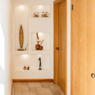 Свежая идея для дизайна: маленький коридор в современном стиле с белыми стенами, полом из керамической плитки и разноцветным полом - отличное фото интерьера