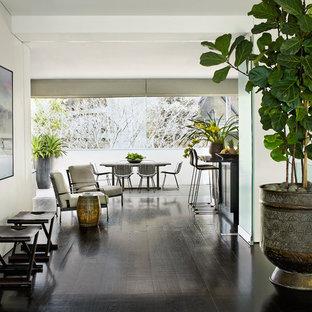 Выдающиеся фото от архитекторов и дизайнеров интерьера: коридор в современном стиле с белыми стенами и темным паркетным полом