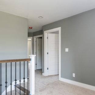 Esempio di un ingresso o corridoio tradizionale di medie dimensioni con pareti grigie e moquette