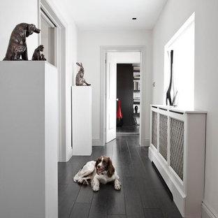 Idéer för att renovera en funkis hall, med vita väggar, mörkt trägolv och svart golv