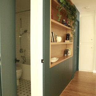 サンフランシスコの中サイズのモダンスタイルのおしゃれな廊下 (緑の壁、竹フローリング、茶色い床) の写真
