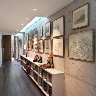 Idéer för att renovera en mellanstor funkis hall, med mörkt trägolv och beige väggar