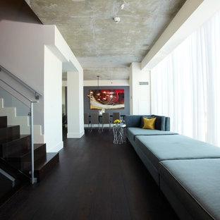 Inspiration for a large contemporary dark wood floor and black floor hallway remodel in Toronto with white walls