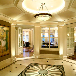 Example of a classic multicolored floor hallway design in San Francisco with beige walls