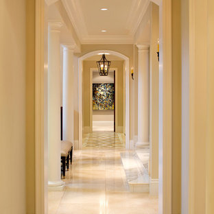Inspiration for a timeless beige floor hallway remodel in San Francisco with beige walls