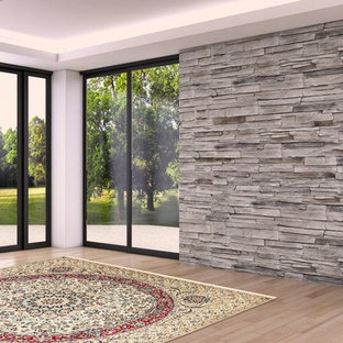Inspiration for a mid-sized modern dark wood floor and brown floor hallway remodel in Phoenix with white walls