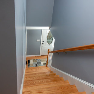 Transitional Red Oak Hallway & stairway wood floor with Natural stain
