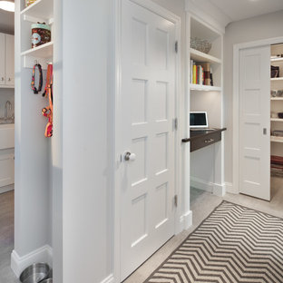Transitional hallway photo in DC Metro with gray walls