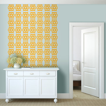 Tyles Marbled Floral, golden yellow, in hallway