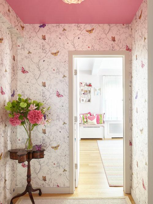 Shabby-Chic-Style Flur mit rosa Wandfarbe Ideen, Design & Bilder | Houzz