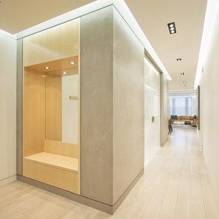 Свежая идея для дизайна: коридор в стиле модернизм с белыми стенами и светлым паркетным полом - отличное фото интерьера