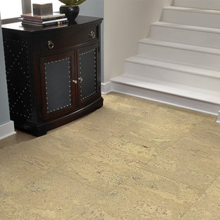 Inspiration for a mid-sized timeless cork floor hallway remodel in Chicago with gray walls