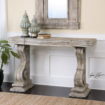 Uttermost Distressed Console Table and Matching Mirror