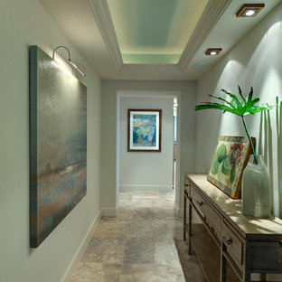 Inspiration for a beach style hallway remodel in Tampa with gray walls