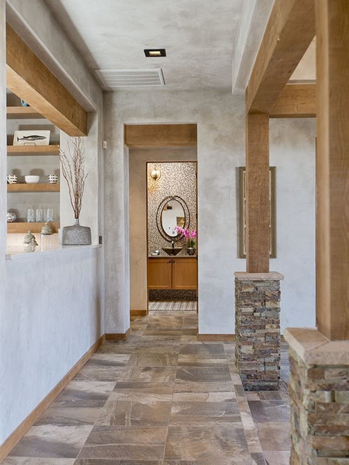 8 Southwestern Hallway With Porcelain Floors Design Ideas