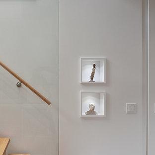 Стильный дизайн: маленький коридор в стиле модернизм с белыми стенами и паркетным полом среднего тона - последний тренд
