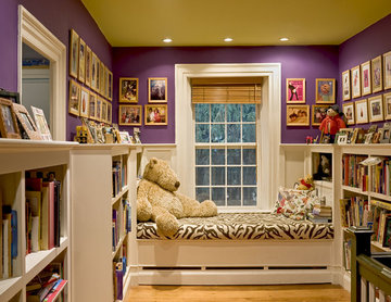 Window seat/reading nook at end of stair hallway