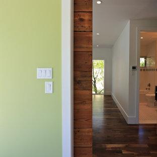 ヒューストンの中くらいのトランジショナルスタイルのおしゃれな廊下 (緑の壁、濃色無垢フローリング、マルチカラーの床) の写真