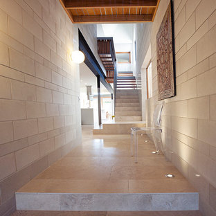 Photo of a contemporary hallway in Brisbane with beige walls.