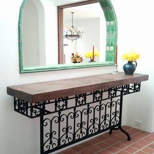 wrought iron table with distressed wood top