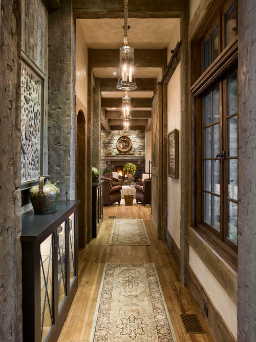 Inspiration For A Rustic Dark Wood Floor Hallway Remodel In Other With  Beige Walls