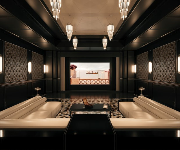 Transitional Home Theater by beyond REALITY | Architekturvisualisierung