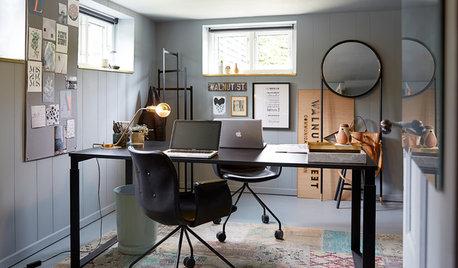 Mörk källare förvandlas till ljust och kreativt hemmakontor
