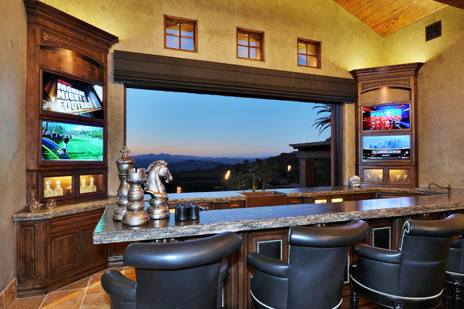Traditional Home Bar by Elevation Architectural Studios