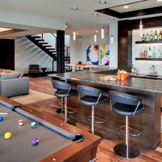 75 Contemporary Home Bar with Stone Tile Backsplash Design Ideas ...