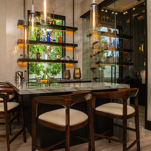 Inspiration for a mid-sized contemporary l-shaped medium tone wood floor and brown floor seated home bar remodel in Miami with flat-panel cabinets, dark wood cabinets, granite countertops and multicolored countertops