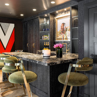 Example Of An Eclectic U Shaped Light Wood Floor Seated Home Bar Design In  New