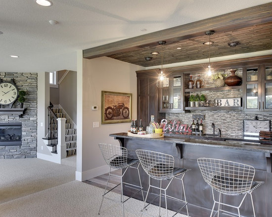 home bar design ideas, remodels & photos with matchstick tile