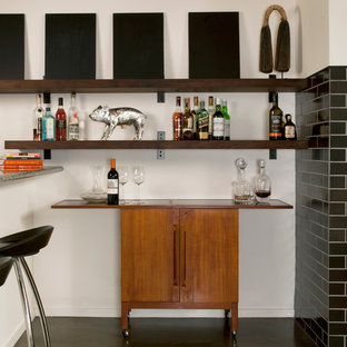 Example of a small urban black floor bar cart design in San Francisco with furniture-like cabinets and medium tone wood cabinets