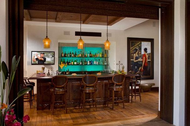 Mediterranean Home Bar by South Coast Architects, Inc.