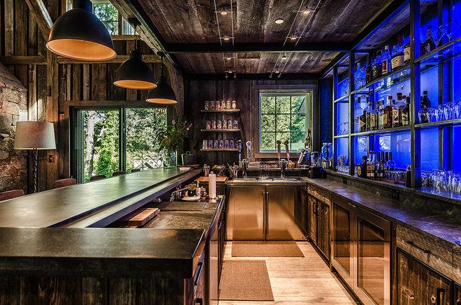 Rustic Home Bar by Blansfield Builders, Inc.
