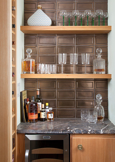 Transitional Home Bar by Ryann Ford Photography