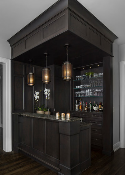 Transitional Home Bar by AMW Design Studio