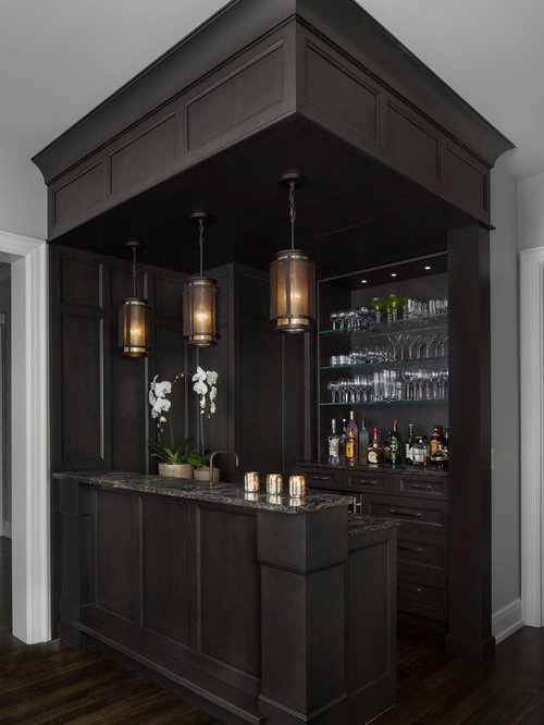 Inspiration For A Transitional Galley Dark Wood Floor Wet Bar Remodel In  Detroit With Open Cabinets