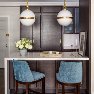 Mid-sized elegant dark wood floor seated home bar photo in New York with recessed-panel cabinets, dark wood cabinets and quartz countertops