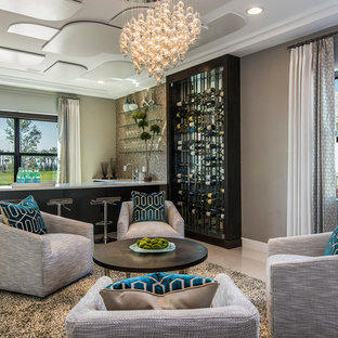 Inspiration for a contemporary l-shaped gray floor home bar remodel in Orlando