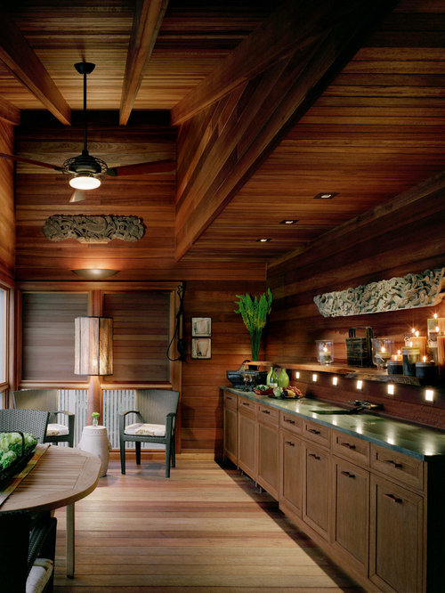 Asian Single Wall Home Bar Idea In New York With Dark Wood Cabinets And  Wood. Save Photo. Marguerite Rodgers Interior Design