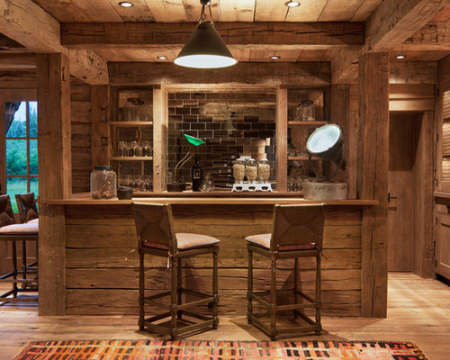Luxury rustic home bar design ideas renovations photos for Bar rustico de madera nativa
