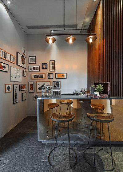Contemporary Home Bar by Abin Design Studio