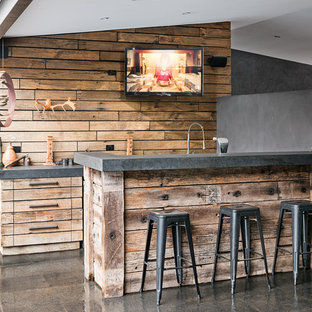 Exceptional Seated Home Bar   Rustic Galley Seated Home Bar Idea In Melbourne With  Flat Panel