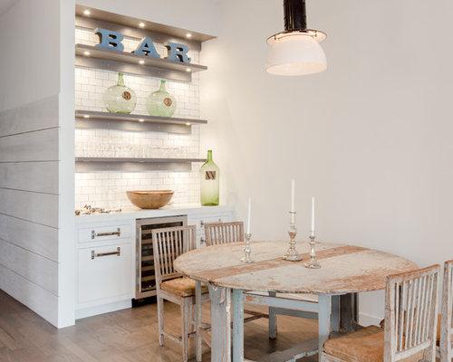 Farmhouse Single Wall Light Wood Floor Wet Bar Idea In New York With No Sink